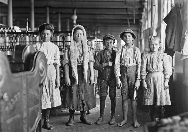 Lewis Hine - Spinners and doffers in Lancaster Cotton Mills. Dozens of them in this mill, 1908